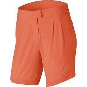 "Nike Flex Ace 7"" Pleated UV Golf Shorts Orange NWT"